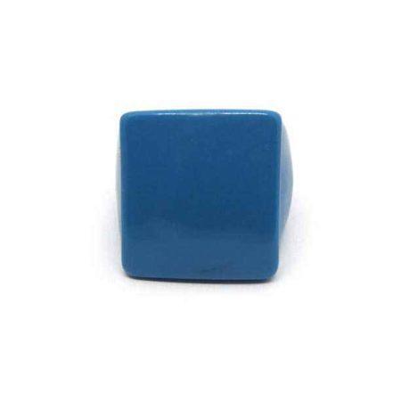 Anel Grande de Resina Quadrado - Azul