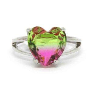 Anel Pedra Rainbow Coração – Prata – Rosa e Verde – ARO 15