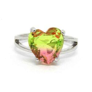 Anel Pedra Rainbow Coração – Prata – Rosa e Verde Claro – ARO 25