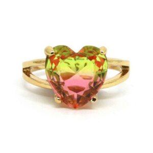 Anel Pedra Rainbow Coração – Rosa e Verde Claro – ARO 22