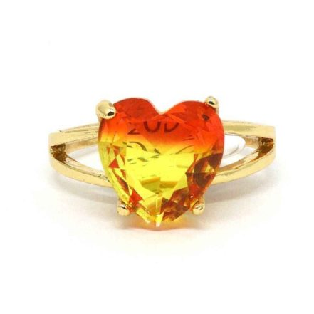 Anel Pedra Rainbow Coração - Vermelho e Amarelo