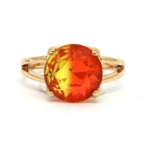 Anel Pedra Rainbow – Dourado – Vermelho e Amarelo ARO – 21