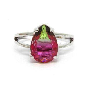 Anel Pedra Rainbow Gota – Prata – Pink e Verde – ARO 19