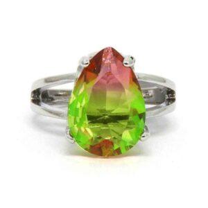 Anel Pedra Rainbow Gota – Prata – Rosa e Verde – ARO 21