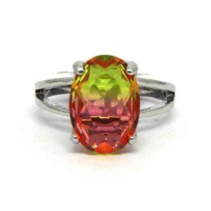Anel Pedra Rainbow Oval – Prata – Pink e Verde – ARO 24