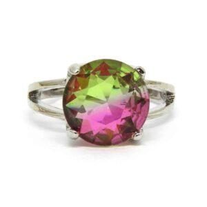 Anel Pedra Rainbow – Prata – Verde e Rosa – ARO 24
