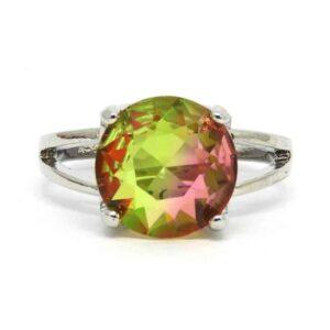 Anel Pedra Rainbow – Prata – Verde e Rosado – ARO 16