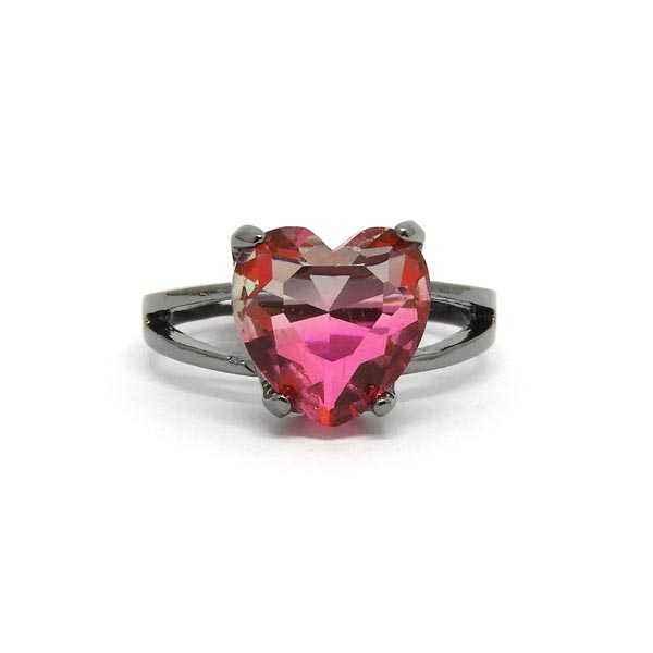 Anel Pedra Rainbow Coração - Rosa - ARO 25