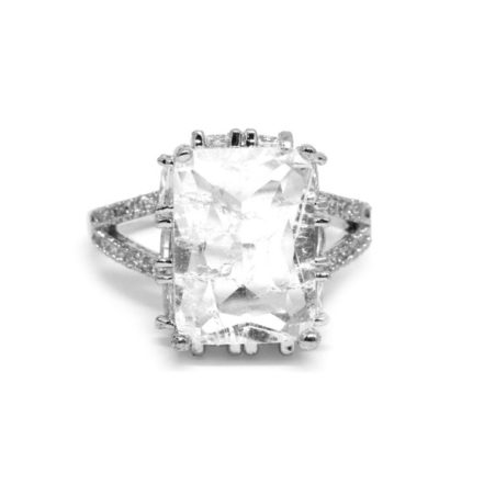 Anel Prata com Pedra Fusion Cristal - Aro 20