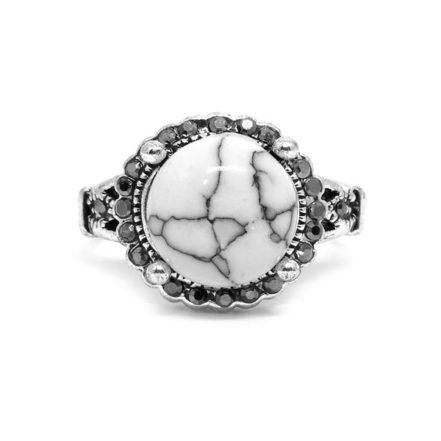 Anel Prata Turca com Pedra Branca - Aro 22