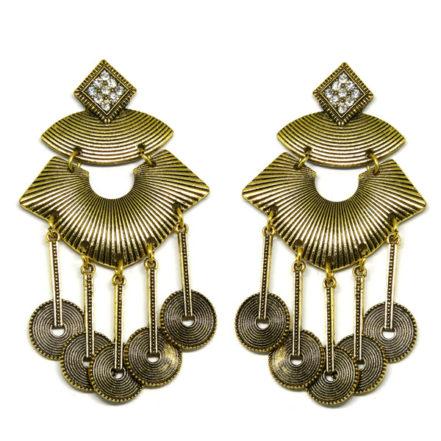 Brinco de Metal  - Quadrado com Strass - Ouro Velho
