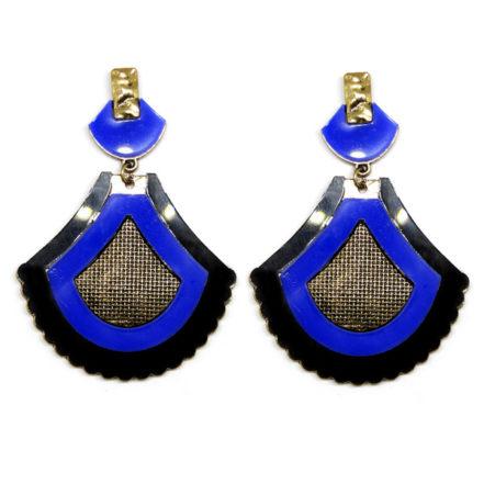 Brinco de Metal e Acrílico - Tela - Preto e Azul