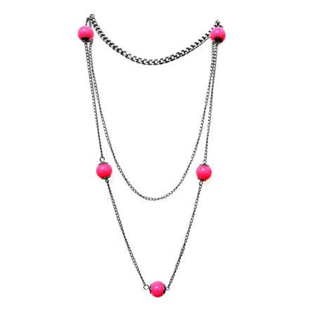 Colar Triplo com Bolas Pink - Artesanal