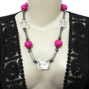 Maxi Colar Pink e Cristal