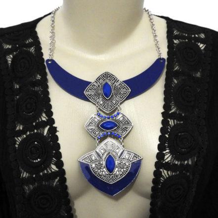 Maxi Colar de Acrílico - Prata e Azul