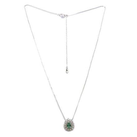 Gargantilha Delicada com Zirconias Cristal e Verde Esmeralda
