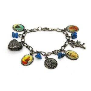 Pulseira com Santos VARIADOS e Corações com Pedra Azul