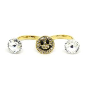 Anel Duplo Dourado Smile
