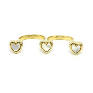 Anel Duplo Dourado Com Corações Perolados