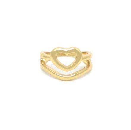 Anel Falange Dourado Coração - 001