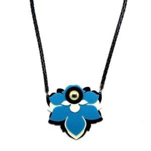 Maxi Colar Flor de Acrílico – Azul Claro