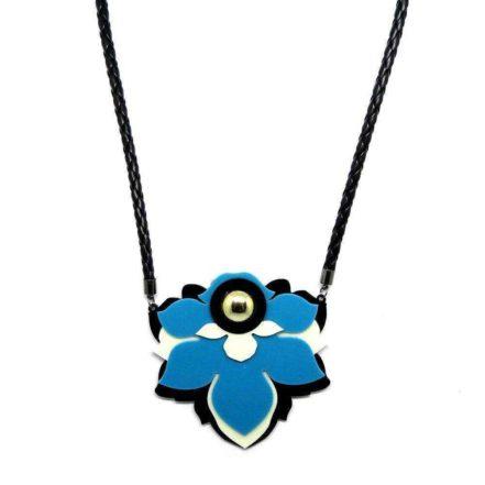 Maxi Colar Flor de Acrílico - Azul Claro