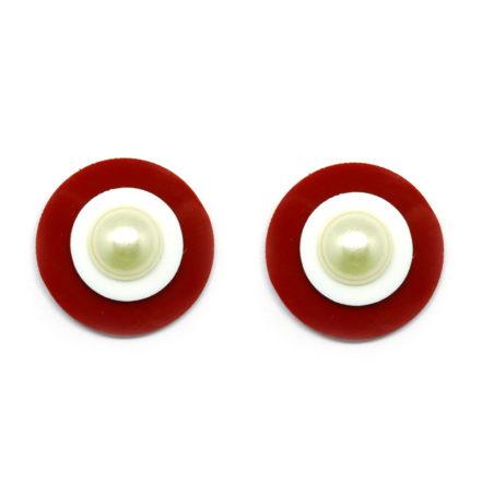 Brinco Pequeno Botão de Acrílico - Vermelho e Branco