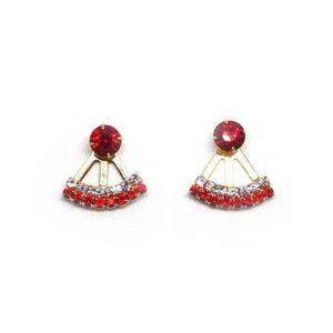 Brinco Ear Jacket pequeno com strass vermelho e cristal
