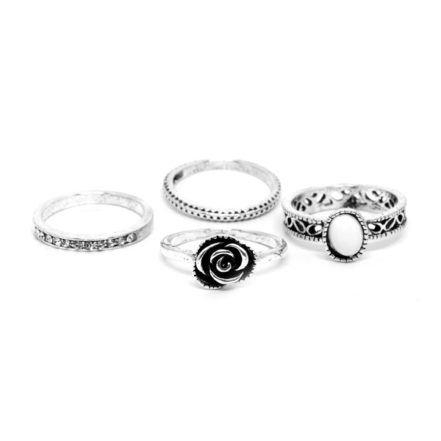 Mix de Anéis com Rosa - Branco - Tamanho Variado