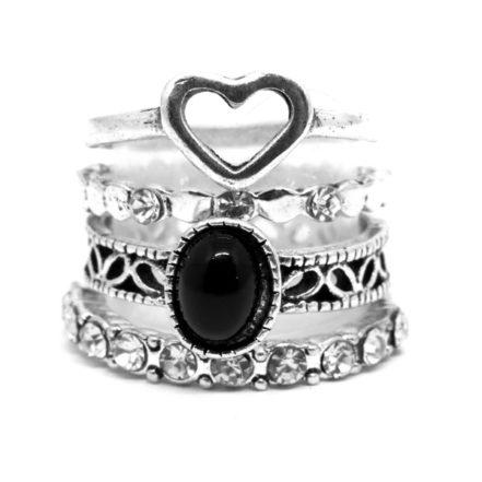 Mix de Anéis com Coração - Preto
