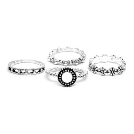 Mix de Anéis Floral - Branco - Tamanho Variado