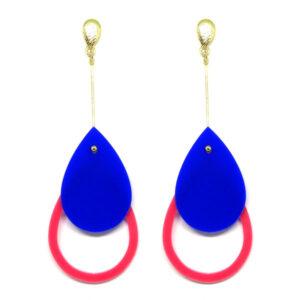 Brinco De Acrílico Gota – Azul e Rosa