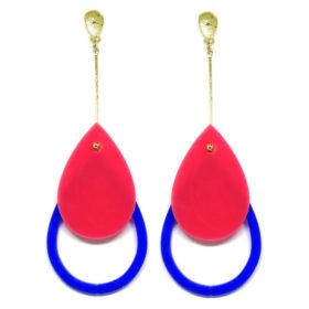 Brinco De Acrílico Gota - Azul e Rosa