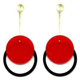 Brinco De Acrílico Redondo – Vermelho e Preto