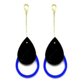 Brinco De Acrílico Gota - Preto e Azul