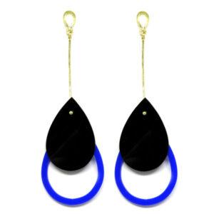 Brinco De Acrílico Gota – Preto e Azul