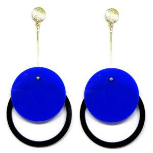 Brinco De Acrílico Redondo – Azul e Preto