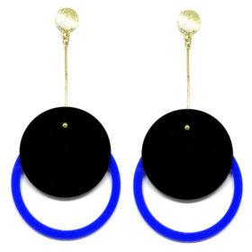 Brinco De Acrílico Redondo - Preto e Azul