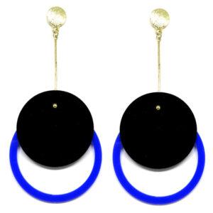 Brinco De Acrílico Redondo – Preto e Azul