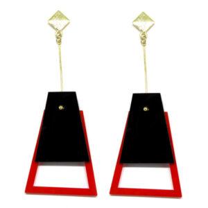 Brinco De Acrílico Pendulo – Preto e Vermelho