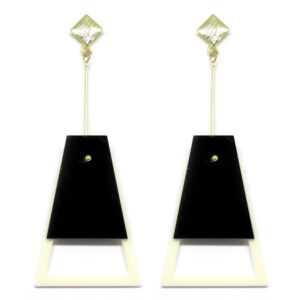 Brinco De Acrílico Pendulo – Preto e Branco