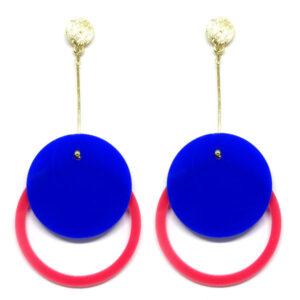Brinco De Acrílico Redondo – Azul e Rosa