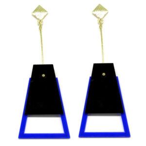 Brinco De Acrílico Pendulo – Preto e Azul