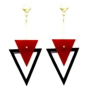 Brinco De Acrílico Triângulos – Vermelho e Preto