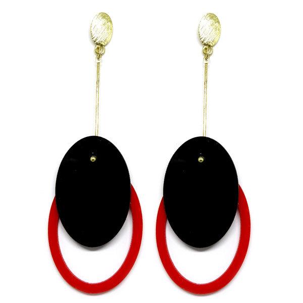 Brinco De Acrílico Oval - Preto e Vermelho
