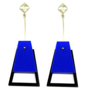 Brinco De Acrílico Pendulo – Azul e Preto