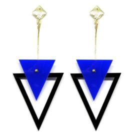 Brinco De Acrílico Triângulos – Azul e Preto