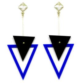 Brinco De Acrílico Triângulos – Preto e Azul