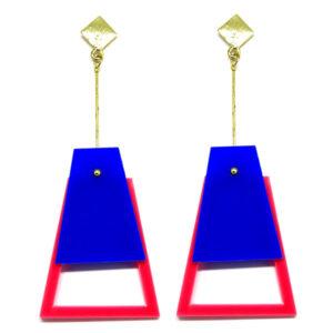 Brinco De Acrílico Pendulo – Azul e Rosa