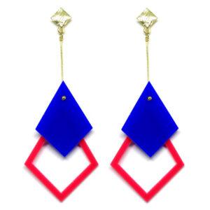 Brinco De Acrílico Pendular – Azul e Rosa